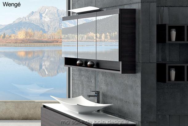 grande armoire miroir de salle de bains 120cm avec triple. Black Bedroom Furniture Sets. Home Design Ideas