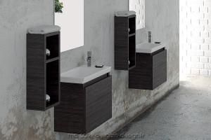Meuble Salle de Bain 45 cm suspendu avec vasque céramique rectangle - SP45