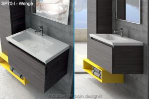 Meuble Salle de Bain 70 cm suspendu avec vasque céramique rectangle - SP70