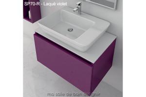meuble sp70 r tiroir suspendu plan solid surface et lavabo c ramique pos finition bois ou. Black Bedroom Furniture Sets. Home Design Ideas