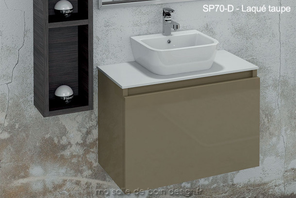 Lavabo c ramique sur plan en solid surface int gr un for Petite tablette
