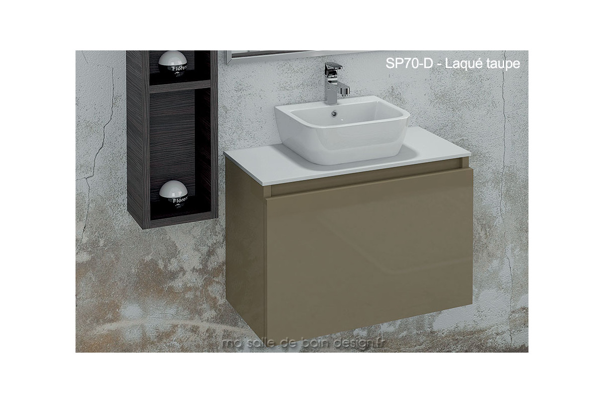 lavabo c ramique sur plan en solid surface int gr un meuble tiroir suspendu 70cm x 44cm. Black Bedroom Furniture Sets. Home Design Ideas