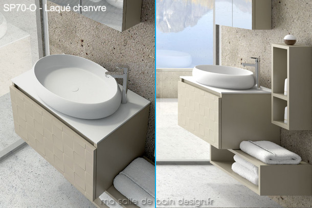 Meuble suspendu avec vasque ovale design en solid surface 70cm de long for Vasque salle bain design
