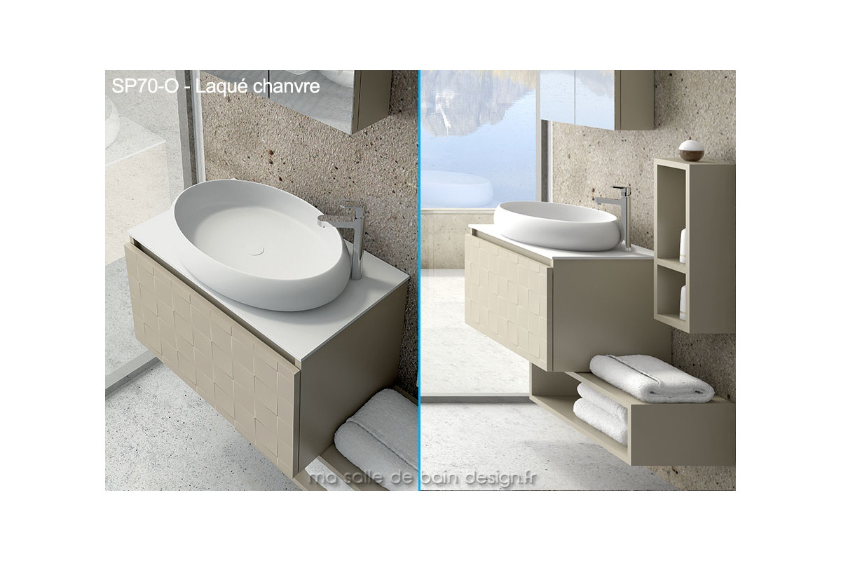 Meuble suspendu avec vasque ovale design en solid surface for Meuble vasque salle de bain suspendu