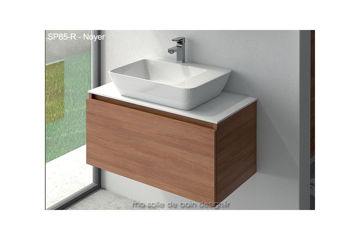 lavabo c ramique sur meuble tiroir suspendu de 85cm de large plan solid surface. Black Bedroom Furniture Sets. Home Design Ideas