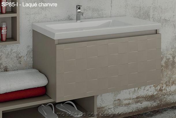 Meuble laqué Salle de Bain 85 cm suspendu avec lavabo encastré - SP85-I