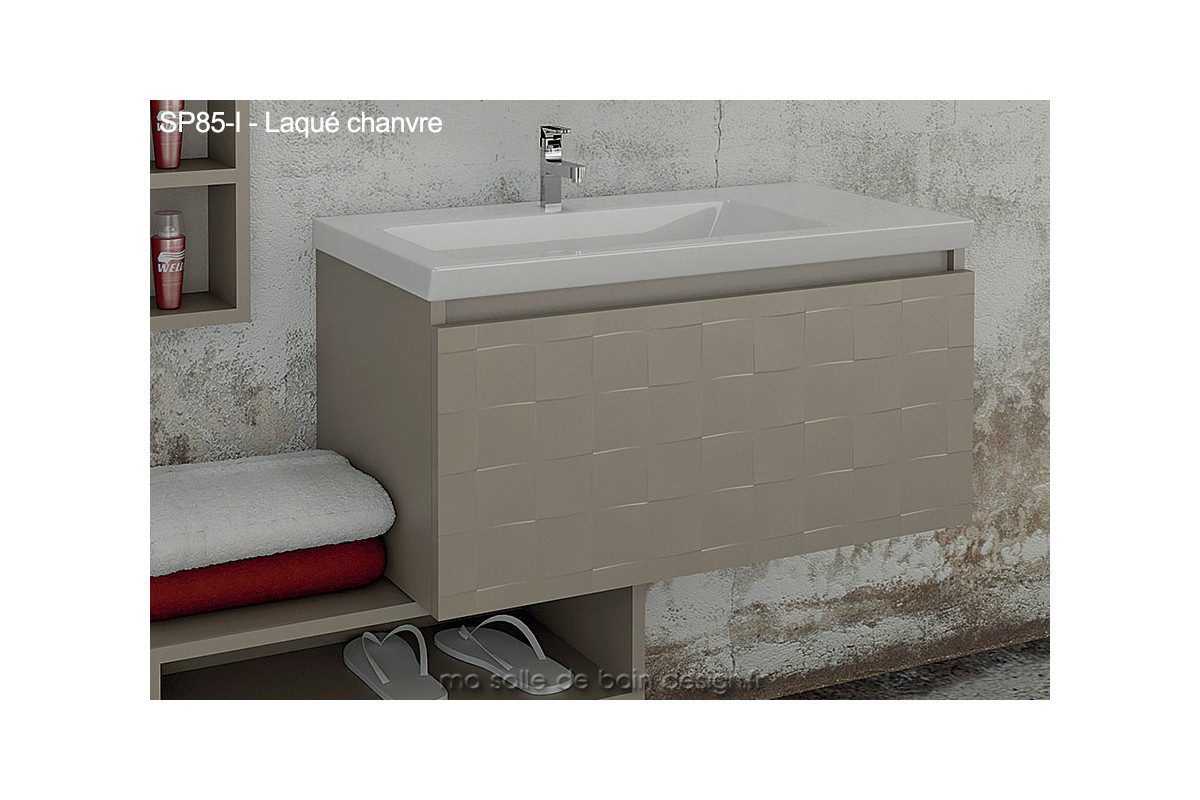 meuble salle de bain tiroir suspendu avec plan lavabo c ramique 85cm. Black Bedroom Furniture Sets. Home Design Ideas