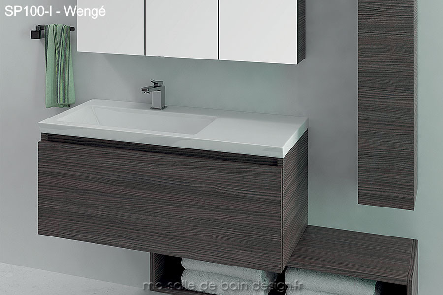 Stunning meuble double vasque 100 cm contemporary design for Grand meuble salle de bain