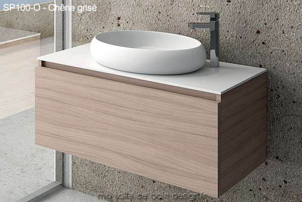 Meuble design de Salle de Bain finition chêne grisé long de 100 cm avec vasque ovale en Solid Surface - SP100-O