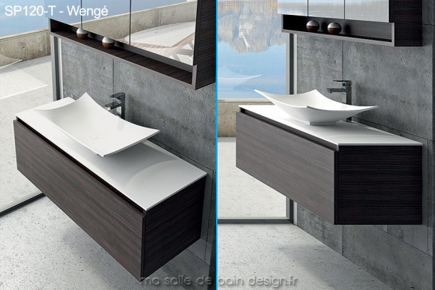 Large meuble tiroir de 120cm avec vasque coupelle design en solid surface for Vasque salle bain design