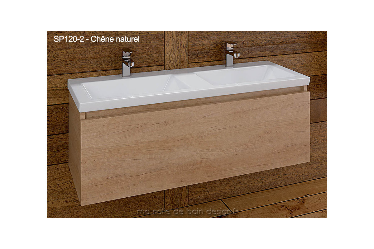 Grand meuble salle de bain suspendu double lavabo encastr for Double vasque 110 cm