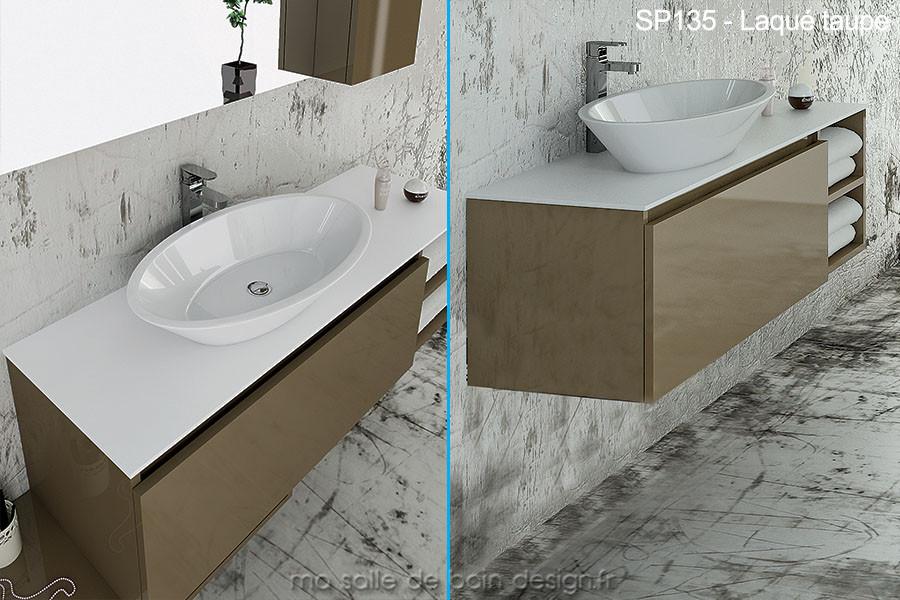 vasque avec meuble Large meuble suspendu à tiroir et étagères ouvertes de 135cm avec vasque  ovale en céramique