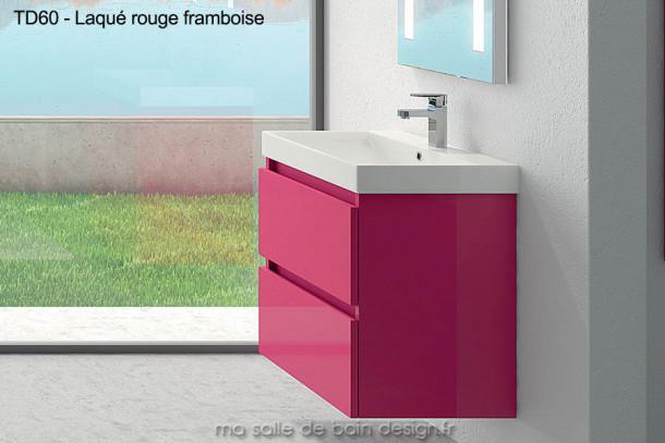Meuble Salle de Bain laqué rouge framboise large de 60 cm, suspendu avec deux tiroirs et plan lavabo en céramique TD60