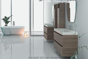 Meuble Salle de Bain 80 cm suspendu avec lavabo céramique TD80