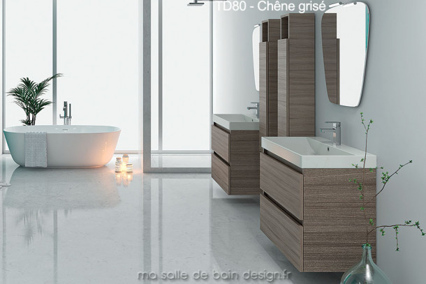 Meuble design de Salle de Bain suspendu de 80 cm à double tiroir finition chêne grisé et lavabo céramique TD80