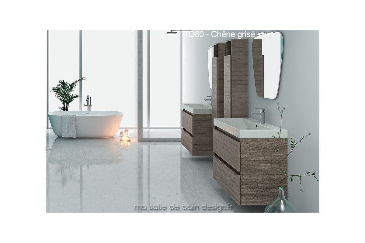 td80 meuble salle de bain mural avec plan lavabo 80 cm couleur ou bois. Black Bedroom Furniture Sets. Home Design Ideas