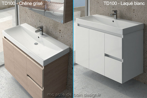 Grand meuble lavabo suspendu td 100cm avec portes et for Meuble 70 cm de large