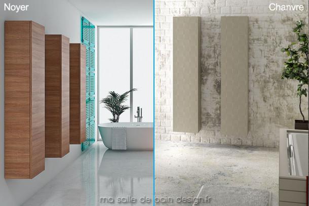 Armoire colonne de rangement moderne finition bois ou couleur laquée 160cm x 35 cm Chiuasa Bella