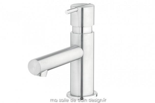 Mitigeur vasque en inox brossé design S22 par Water Evolution