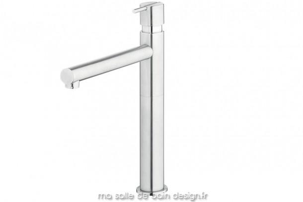 Mitigeur pour vasque haute en inox brossé design S22 par Water Evolution