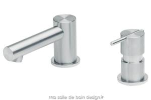 Mitigeur lavabo 2 trous S22 en inox brossé
