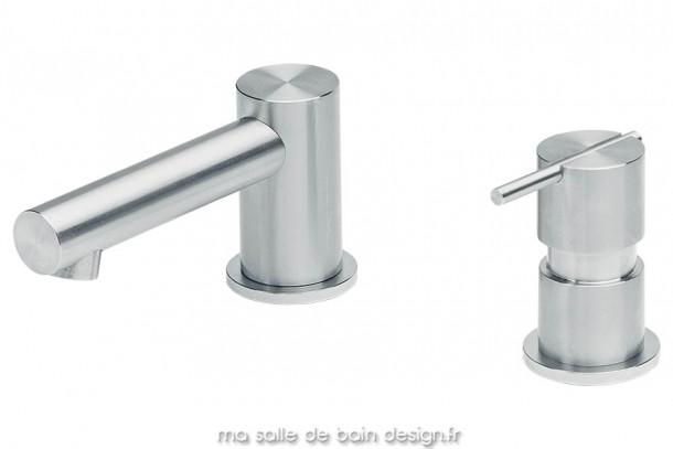 Mitigeur pour lavabo 2 trous ou vasque extra plate, corps en inox brossé. S22 par Water Evolution