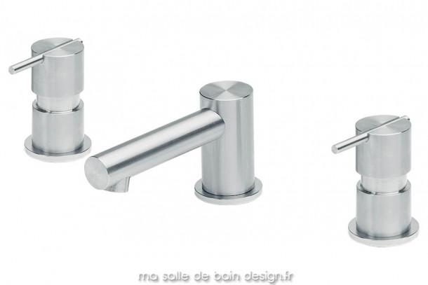 Mélangeur pour lavabo 3 trous ou vasque extra plate, corps en inox brossé. S22 par Water Evolution
