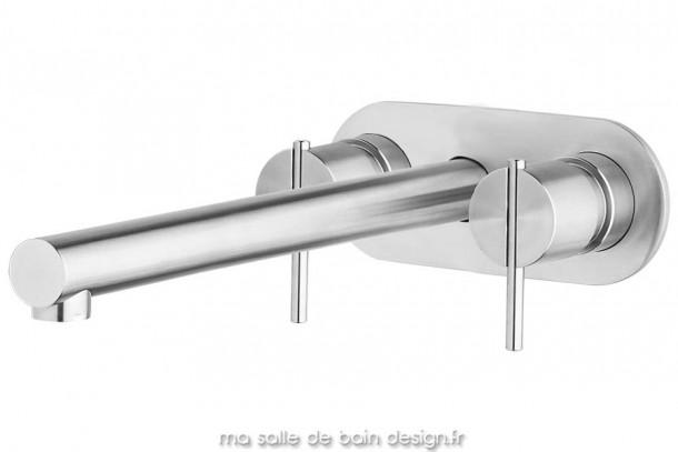 m langeur mural long bec pour vasque s22 en inox bross water evolution. Black Bedroom Furniture Sets. Home Design Ideas