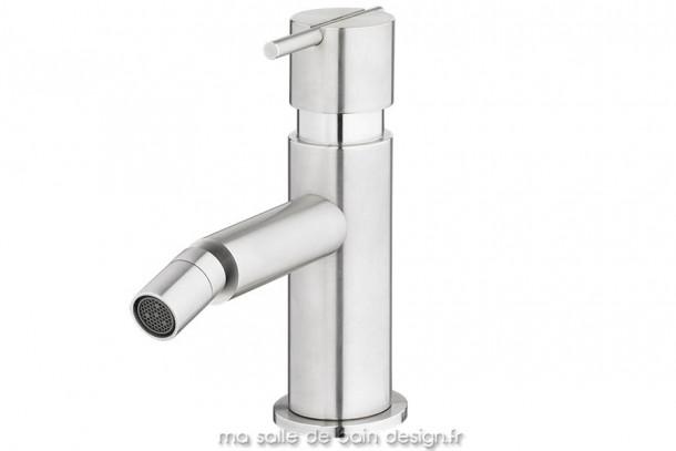 Mitigeur design monotrou pour bidet en inox brossé S22 par Water Evolution