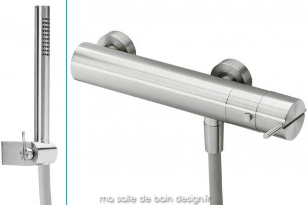 Mitigeur thermostatique design mural de douche avec douchette en inox brossé S22 par Water Evolution