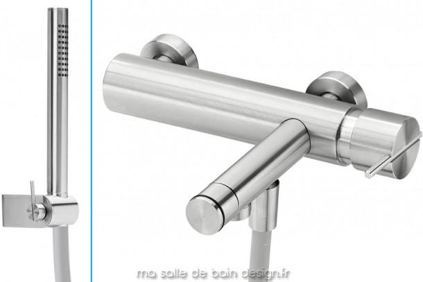 Mitigeur bain douche design avec douchette en inox brossé S22 par Water Evolution