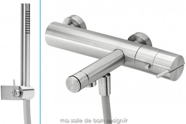 Mitigeur thermostatique bain douche design avec douchette en inox brossé S22 par Water Evolution