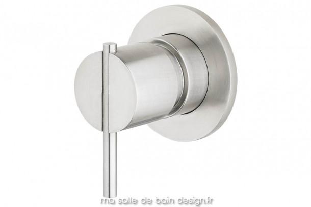 Vanne mitigeur encastré une sortie bain ou douche en inox brossé S22 par Water Evolution