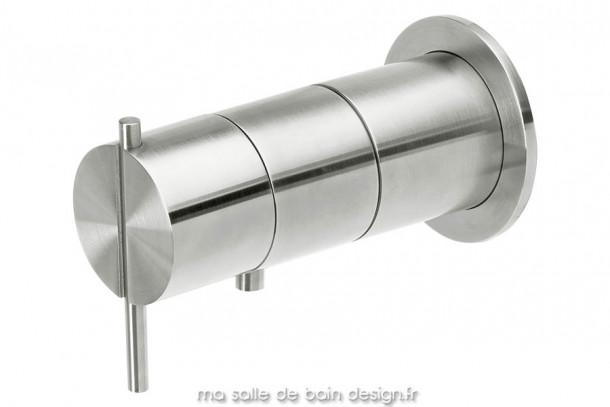 Vanne mitigeur thermostatique encastré une sortie bain ou douche en inox brossé S22 par Water Evolution
