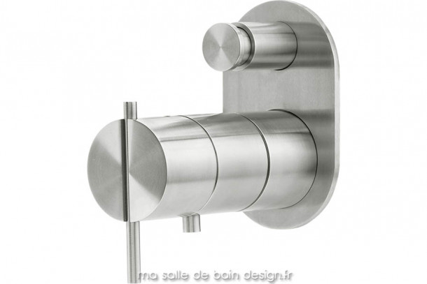 Mitigeur thermostatique bain douche mural encastré en inox brossé S22 par Water Evolution