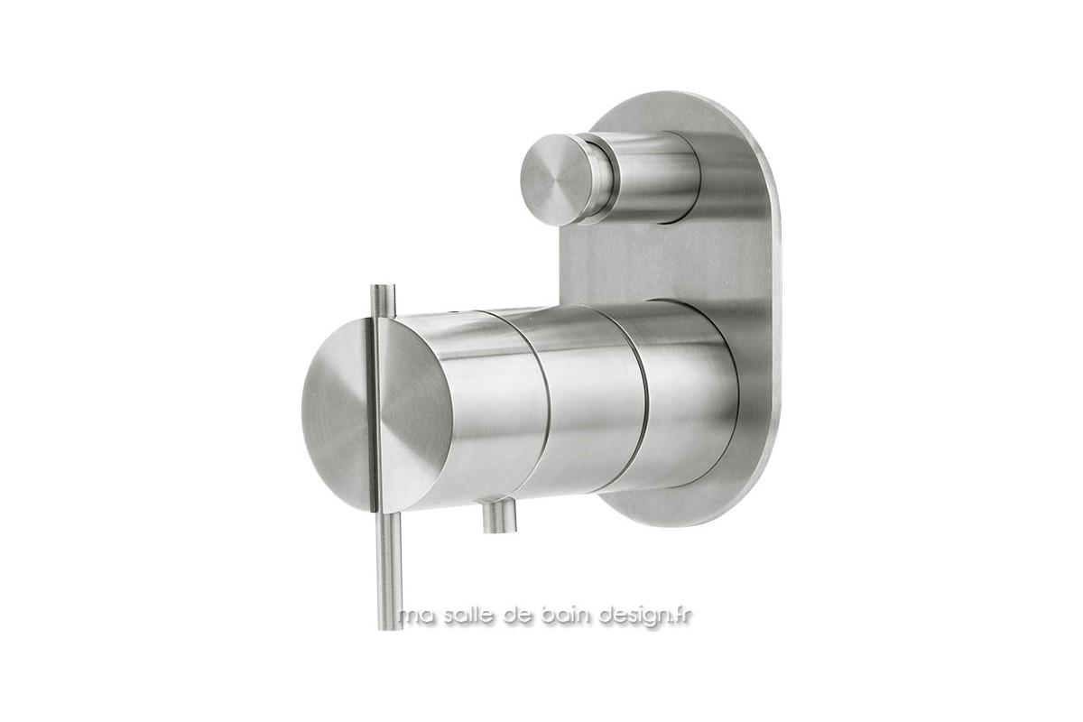 Mitigeur thermostatique bain douche encastr moderne en inox bross s22 - Mitigeur mural salle de bain ...