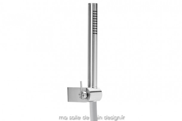 Douchette design sur support inclinable inox brossé S22 par Water Evolution
