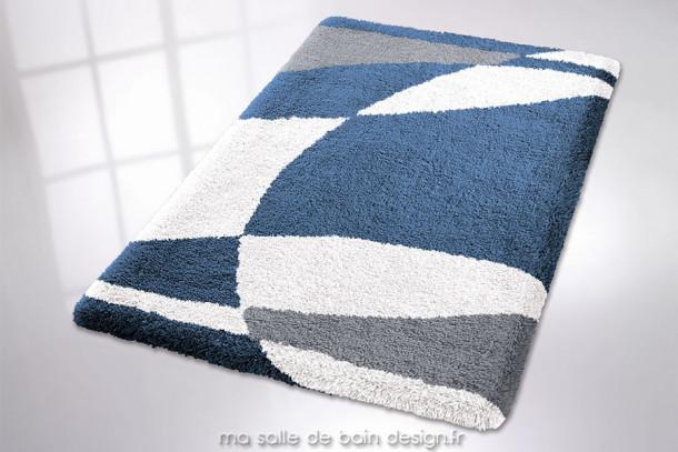 Tapis de bain - Jackson - tapis de salle de bains blanc et bleu, disponible en plusieurs tailles