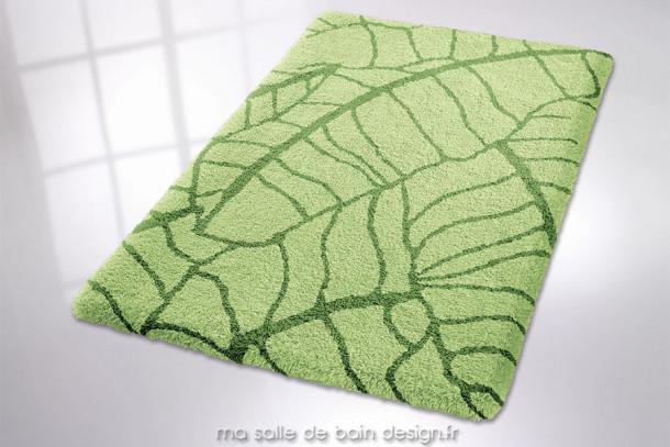 Tapis de bain - Kingston - Décors à motifs végétaux. Dominante verte. Disponible en 3 couleurs