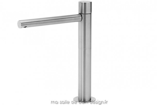 Grand mitigeur vasque réhaussé en inox brossé design Lapa par Water Evolution