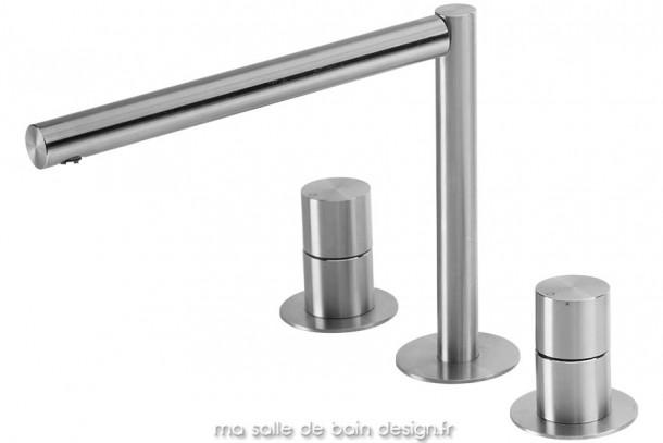 Mélangeur 3 trous pour vasque haute en inox brossé design Lapa par Water Evolution