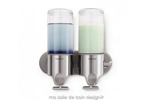 Distributeur de savon mural à réservoir transparent - double