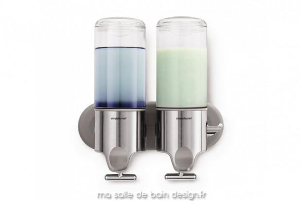 Distributeur de savon mural à pompe manuelle double, par Simplehuman