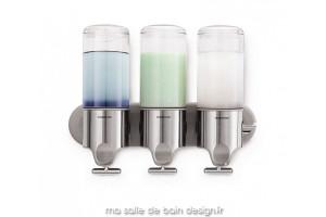 Distributeur de savon mural à réservoir transparent - triple