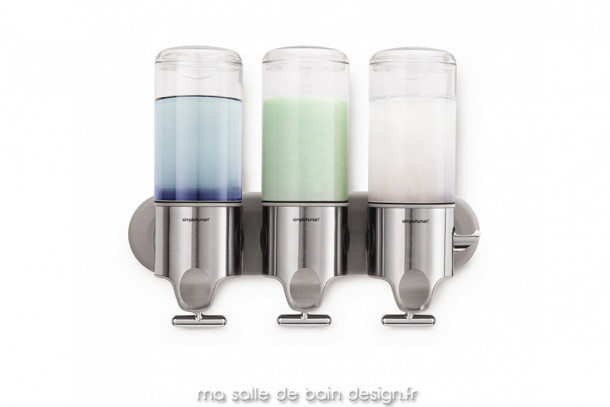 Pompe à savon murale triple en inox et réservoir transparent