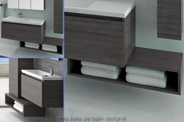 Etagère salle de bains en colonne horizontale 70 ou 100cm Linea