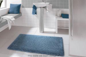 Tapis de bains 100% coton uni bleu jeans ou anthracite - Turin