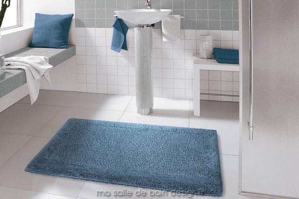 Tapis de bain 100% coton uni bleu jeans Turin