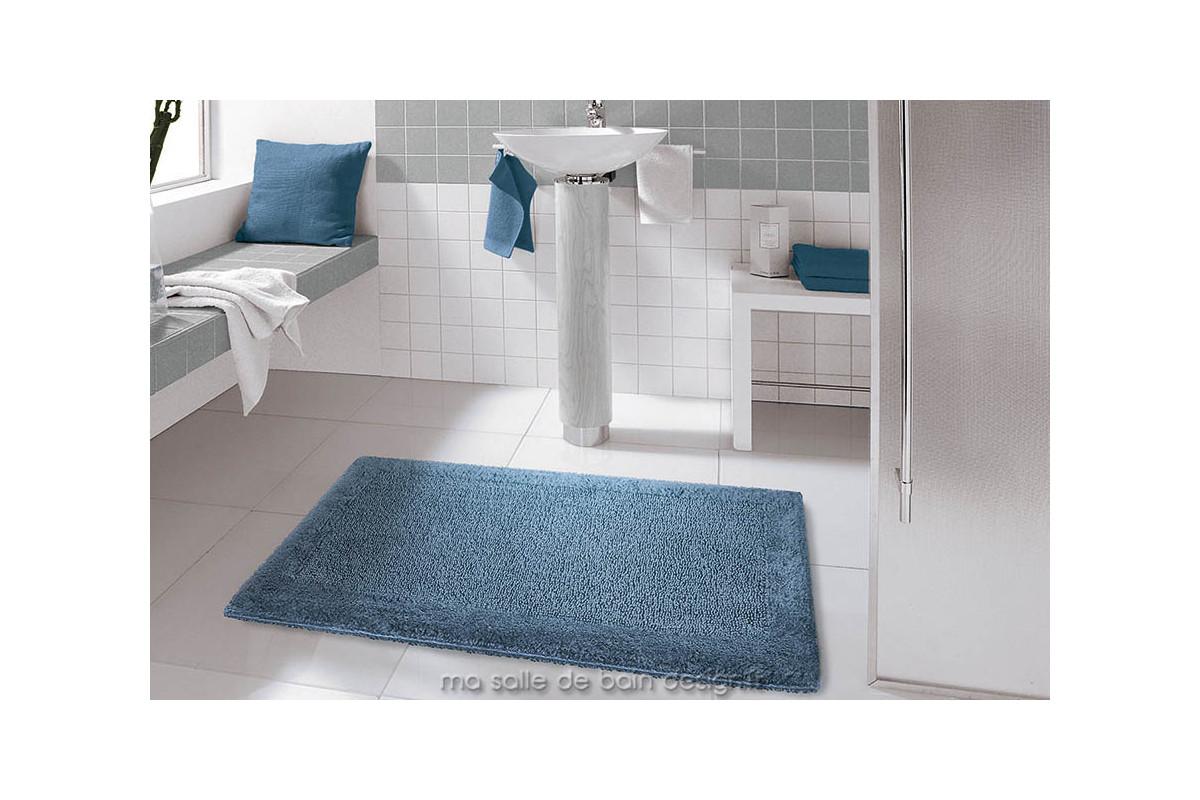 Tapis de bains 100 coton uni bleu jeans ou anthracite turin for Tapis salle de bain design gris
