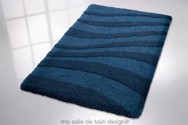 Tapis de bain uni bleu deux tons avec vagues - Riga